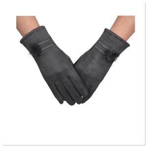Dark Gray Faux Suede Gloves